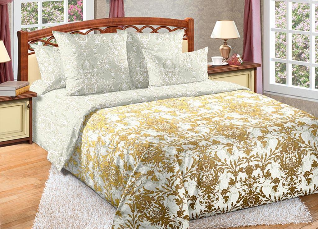 Комплект белья Primavera Вензель, евро, наволочки 70x70, 50x70, цвет: серый, золотой89127