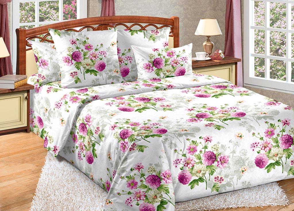 Комплект белья Primavera Астры, евро, наволочки 70x70, 50x70, цвет: белый89139