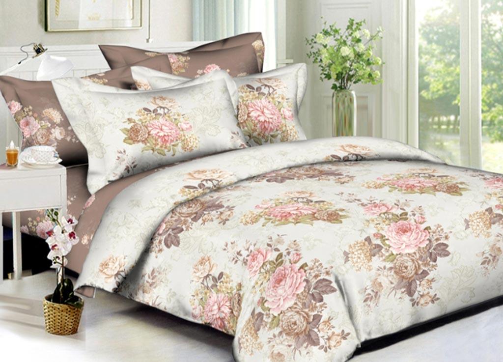 Комплект белья Primavera Букет пионов, 1,5-спальный, наволочки 70x70, цвет: бежевый89880