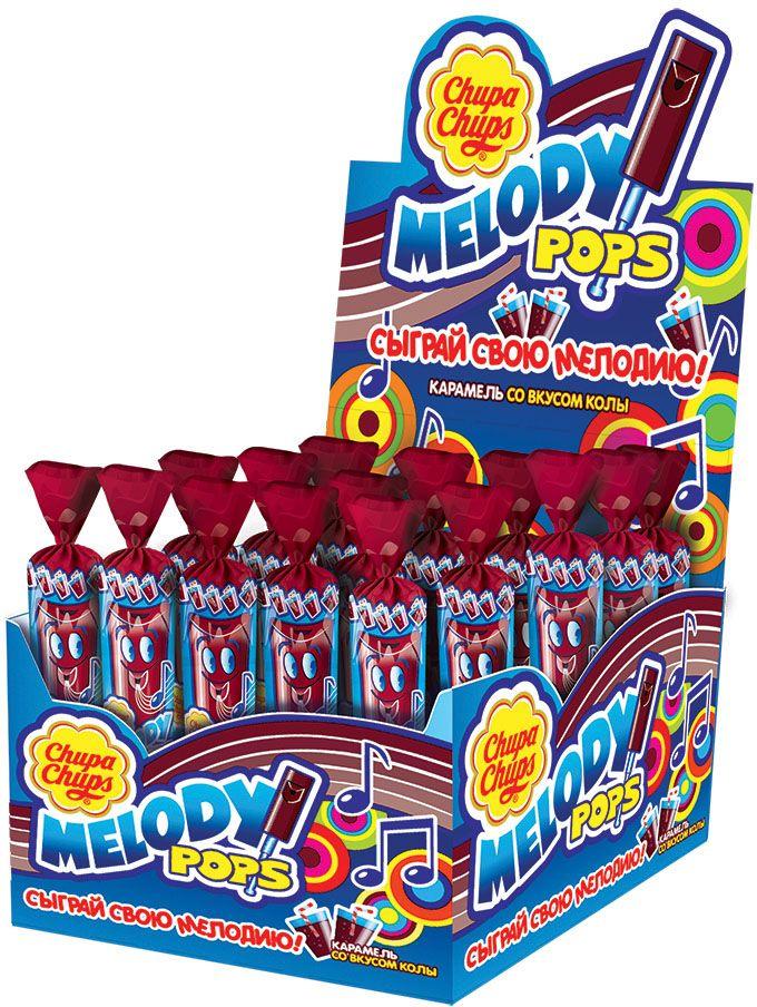 Chupa Chups карамель Melody Pops Кола, 48 шт по 15 г0120710Фруктовая карамель и одновременно настоящая свистулька, на которой можно играть разные мелодии.