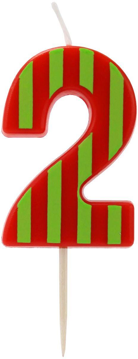 Action! Свеча-цифра для торта 2 года цвет красный, салатовый