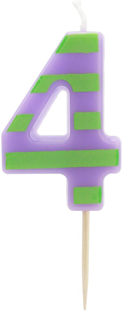 Action! Свеча-цифра для торта 4 года цвет фиолетовый зеленый