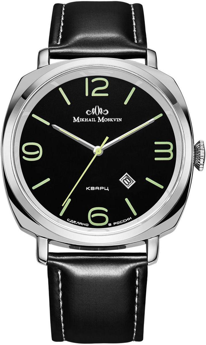 Часы наручные мужские Mikhail Moskvin, цвет: серебристый, черный. 1045A1L4BM8434-58AEНаручные кварцевые часы Mikhail Moskvin выполнены из высококачественных материалов. Корпус выполнен из высококачественного металла с напылением ионами стали. Ремешок, выполненный из гладкой кожи, застегивается с помощью пряжки. Часы оснащены минеральным, устойчивым к царапинам, стеклом с сапфировым напылением и задней крышкой из гипоаллергенной нержавеющей стали.