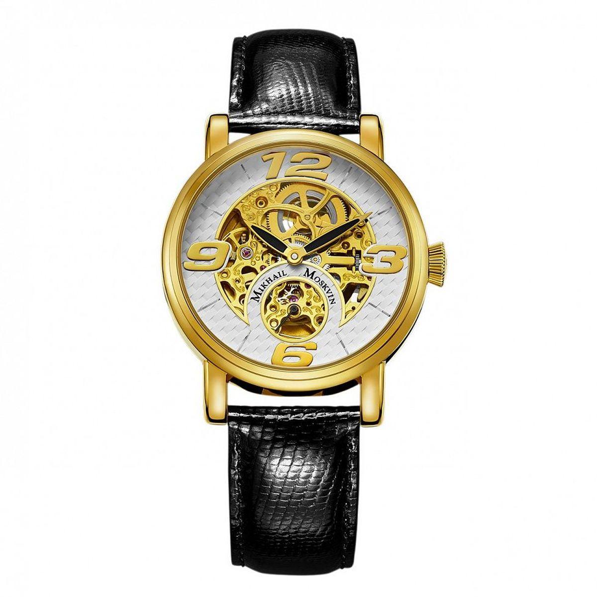 Часы наручные мужские Mikhail Moskvin Премьер, цвет: золотой, черный. 1233A2L21233A2L2Наручные кварцевые часы Mikhail Moskvin выполнены из высококачественных материалов. Корпус выполнен из высококачественного металла с напылением из золота. Ремешок, выполненный из натуральной кожи, застегивается с помощью пряжки. Часы оснащены минеральным, устойчивым к царапинам, стеклом с сапфировым напылением и задней крышкой из гипоаллергенной нержавеющей стали.