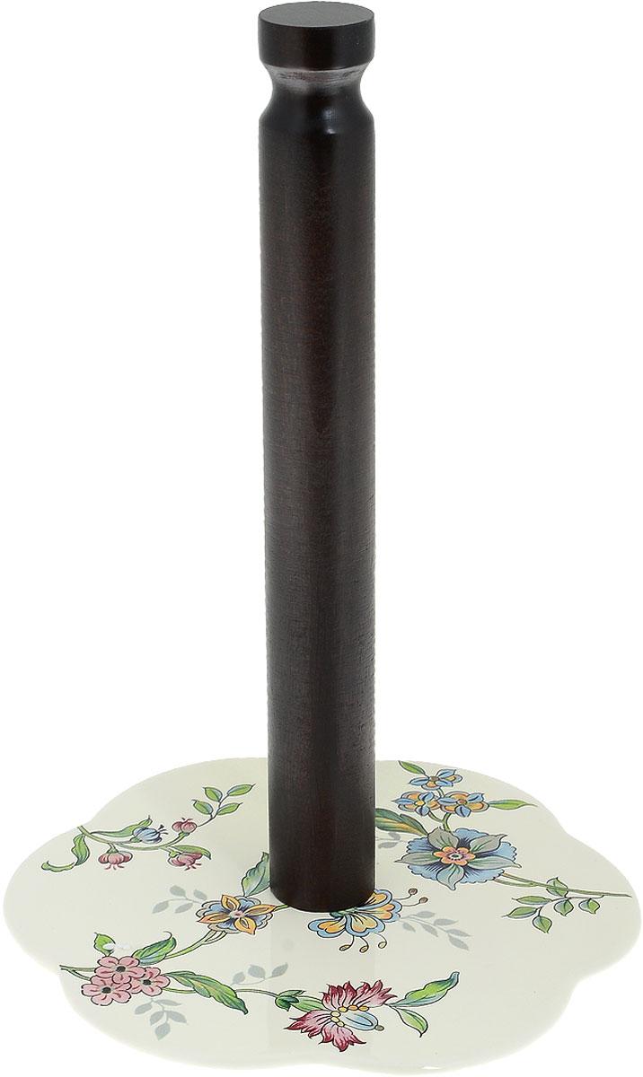 Держатель для бумажных полотенец Nuova Cer Прованс, цвет: молочный, коричневый, высота 29 смPRV-7308Держатель Nuova Cer Прованс, изготовленный из высококачественного дерева и керамики, предназначен для бумажных полотенец. Изделие имеет широкое фигурное основание. Такой держатель станет полезным аксессуаром в домашнем быту и идеально впишется в интерьер современной кухни. Изделие нельзя мыть в посудомоечной машине. Высота держателя 29 см. Диаметр основания 18 см.