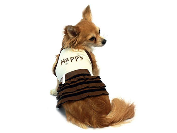 Сарафан для собак Каскад Happy, для девочки, цвет: бежевый, коричневый. Размер XS52000006