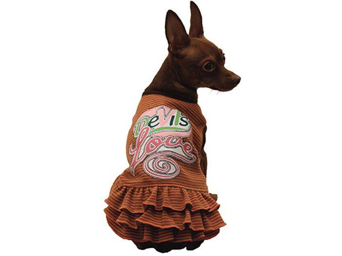 Сарафан для собак Каскад Devils Love, для девочки, цвет: оранжевый. Размер S52000957