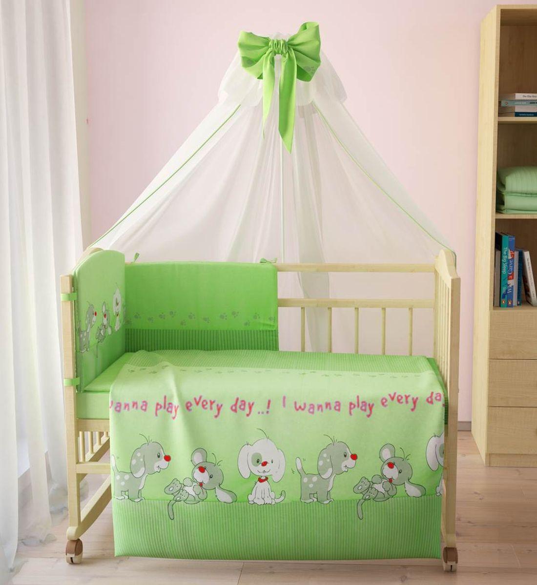 Фея Комплект белья для новорожденных Веселая игра цвет зеленый 7 предметов 1011-41011-4