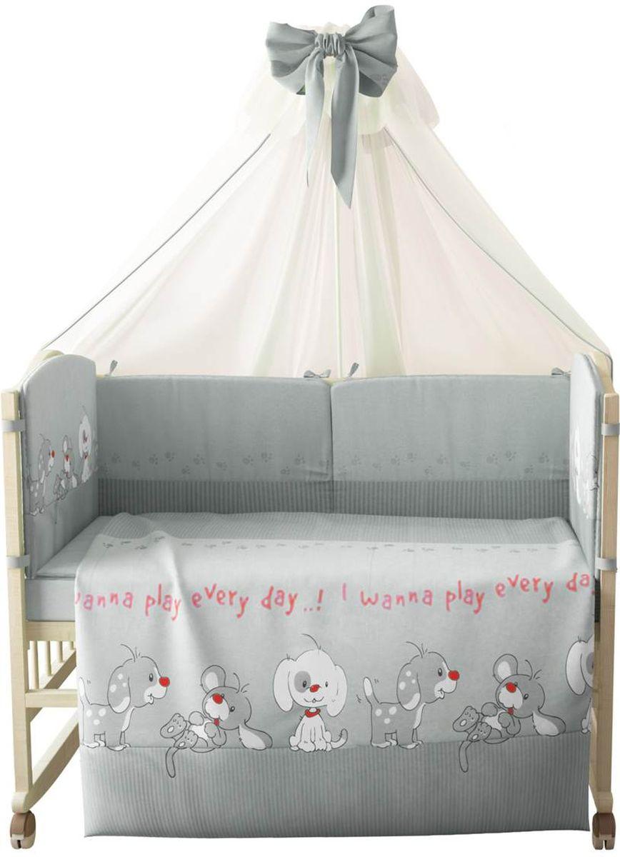 Фея Комплект белья для новорожденных Веселая игра цвет серый 7 предметов 1015-31015-3