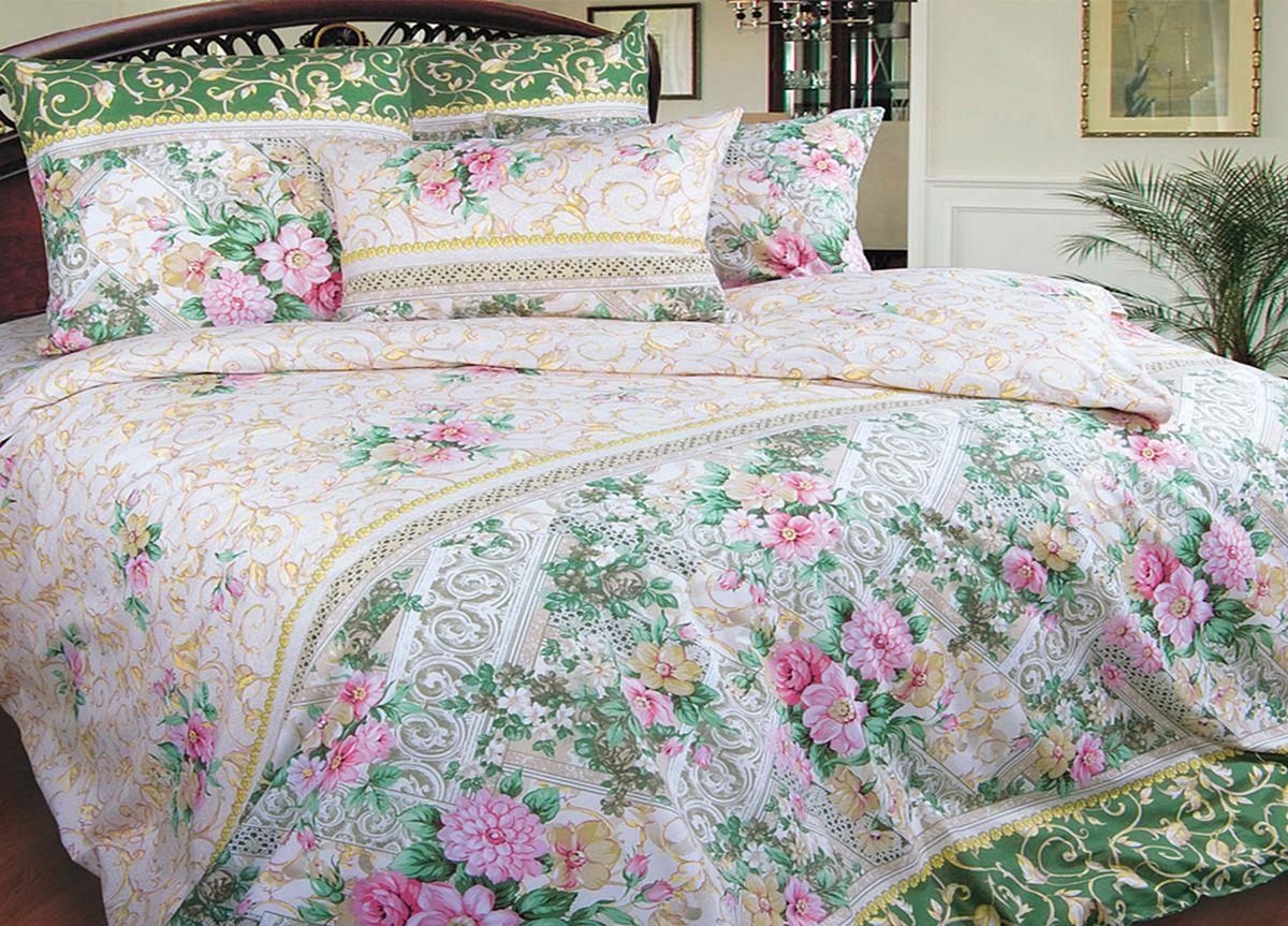 Комплект белья Primavera Роскошь цветов, семейный, наволочки 70x70, 50x70, цвет: белый81997