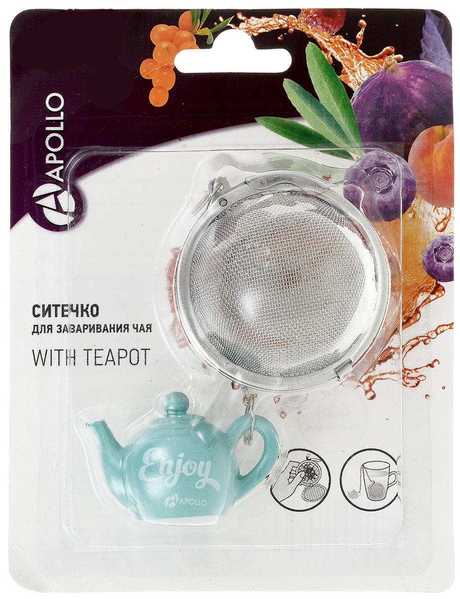 Ситечко для чая Apollo With Teapot, цвет: бирюзовый, диаметр 5 смSTO-01_бирюзовыйСитечко Apollo With Teapot прекрасно подходит для заваривания любого вида чая. Изделие выполнено из нержавеющей стали. Ситечком очень легко пользоваться - просто насыпьте заварку внутрь и погрузите на дно кружки. Ситечко дополнено металлической цепочкой с фигуркой заварочного чайника из полирезина. Забавная и приятная вещица для вашего домашнего чаепития. Не рекомендуется мыть в посудомоечной машине. Размер фигурки: 4,5 х 3 х 2,5 см. Диаметр ситечка: 5 см.