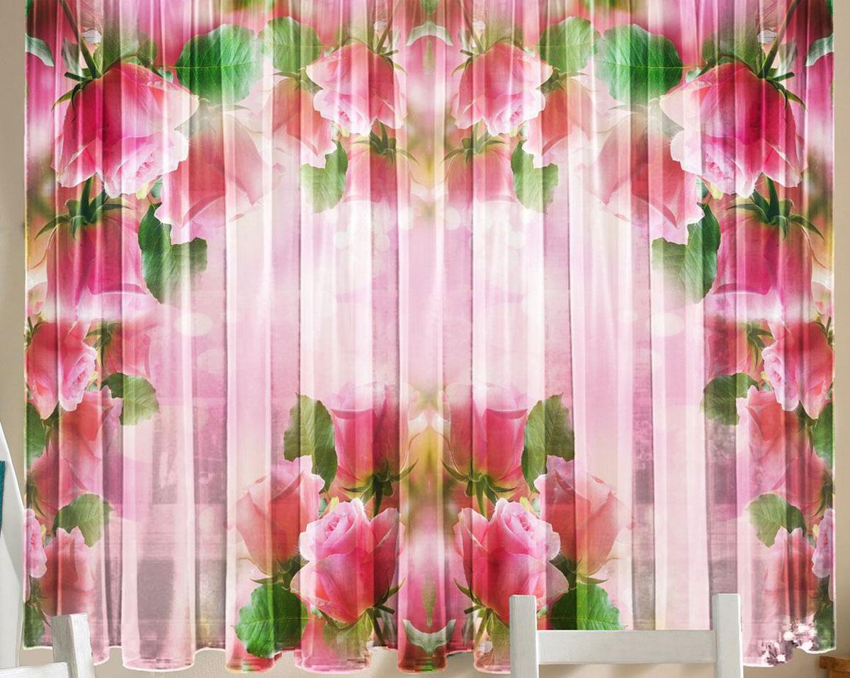 Комплект фототюлей для кухни Zlata Korunka  Розовая арка, на ленте, высота 160 см21305Фототюль - это новинка в мире фотоштор. Для производства используется шифоновая ткань высочайшего качества. Уход: Бережная стирка при 30 градусах, деликатный отжим, отбеливание запрещено. Комплектация и размер: 2 полотна (каждое – шир.145 х выс.160) соединенных поверху, одной шторной лентой. Оттенок изделия может отличаться от представленного на сайте в силу особенностей цветопередачи фототехники и Вашего монитора.
