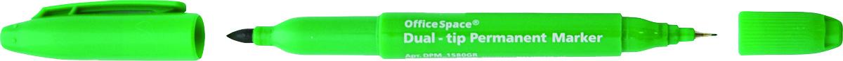 OfficeSpace Маркер перманентный двухсторонний цвет зеленый610842Перманентный двухсторонний маркер OfficeSpace предназначен для письма на большинстве поверхностей: бумаге, коже, пластике, металле, резине, ткани. Маркер имеет пулевидный наконечник.
