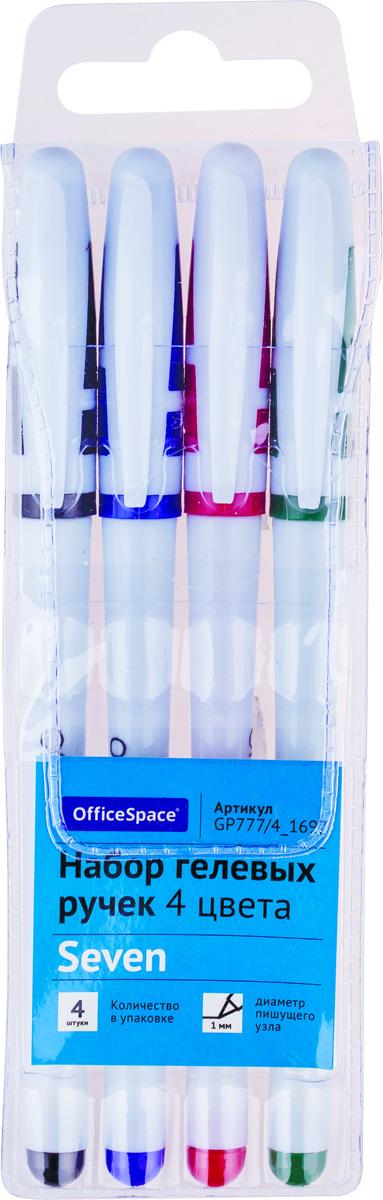 OfficeSpace Набор гелевых ручек 4 цветов GP777/4_1697GP777/4_1697Набор гелевых ручек OfficeSpace в белом корпусе с чернилами 4 цветов. Пишущий узел - 1 мм. Ручки упакованы в ПВХ-чехол с европодвесом.