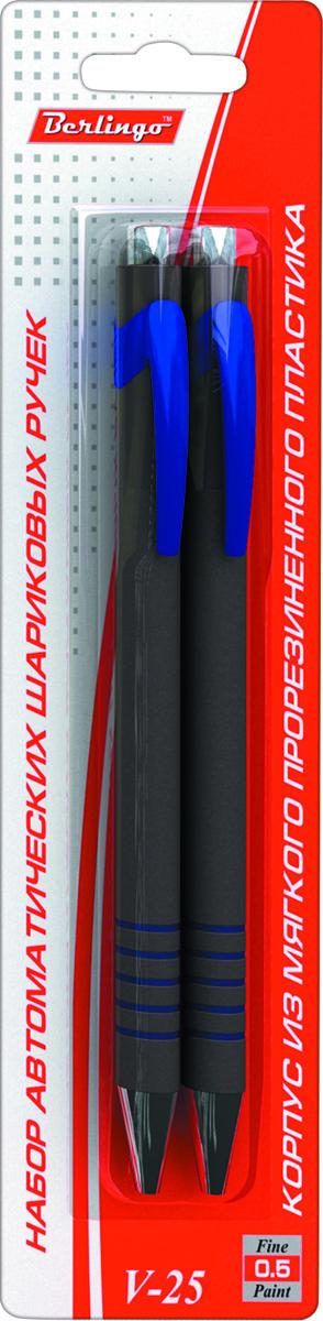 Berlingo Набор шариковых ручек V-25 синие 2 штPP-304Автоматическая шариковая ручка Berlingo V-25 с пластиковым клипом. Цветные детали корпуса соответствуют цвету чернил. Приятное бархатистое покрытие корпуса создает дополнительный комфорт при письме. Диаметр пишущего узла - 0,5 мм. Чернила на масляной основе. Рекомендуется стержень CSb_51312.