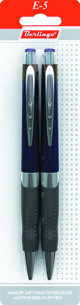 Berlingo Набор шариковых ручек E-5 синие 2 штKS26072Автоматическая шариковая ручка Berlingo E-5 с металлическим клипом. Мягкий резиновый грип препятствует скольжению пальцев и обеспечивает комфортное письмо. Кнопочная подача стержня. Диаметр пишущего узла - 0,7 мм. Рекомендуются стержни CSb_71242, CSb_71241.