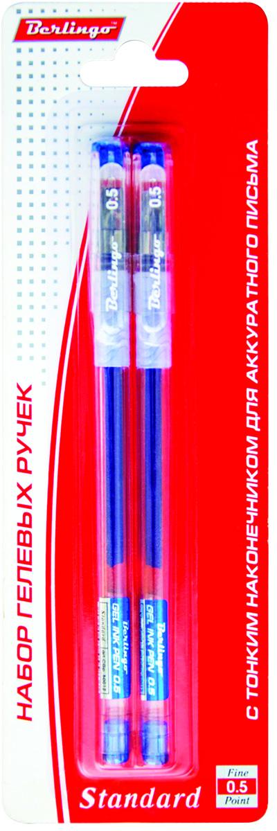 Berlingo Набор гелевых ручек Standard синие 2 шт72523WDНабор гелевых ручек Berlingo Standard включает в себя 2 ручки с прозрачным корпусом и пластиковым клипом. Игольчатый стержень. Мягкий резиновый грип препятствует скольжению пальцев и обеспечивает комфортное письмо. Диаметр пишущего узла - 0,5 мм.