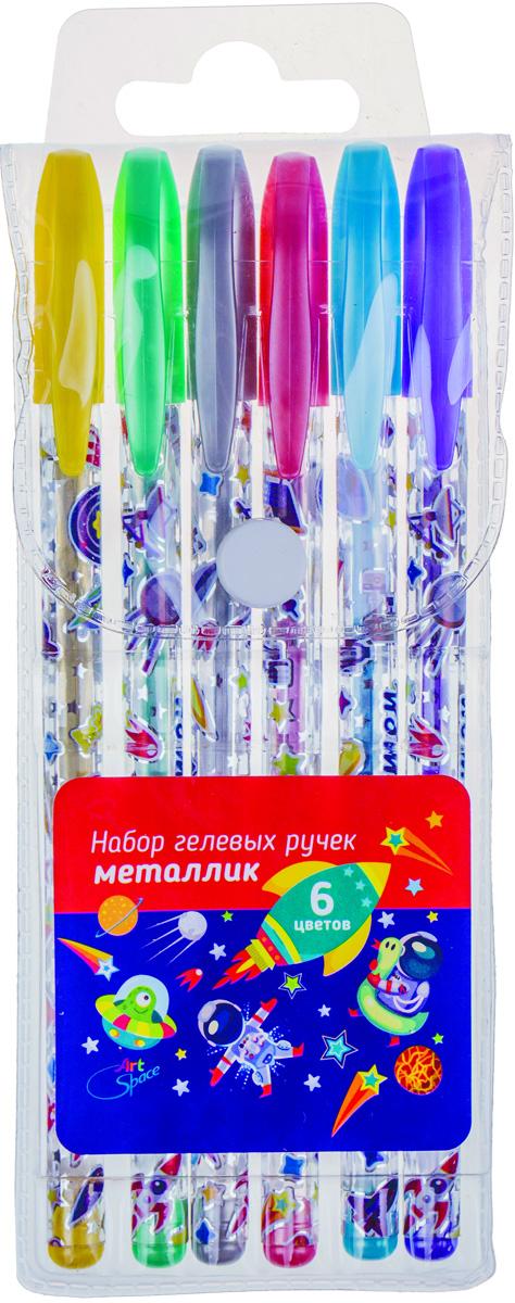 ArtSpace Набор гелевых ручек Космонавты 6 цветовMG6_7110Набор гелевых ручек ArtSpace Космонавты отлично подойдет для оформления конспектов и других текстов, а также альбомов, дневников и открыток. Ручка имеет пишущий узел толщиной 1 миллиметр, который оставляет на бумаге след в 0,8 миллиметра. Корпус изделий выполнен из прозрачного пластика, украшенного цветными изображениями, колпачок соответствует цвету чернил. В набор входят 6 ручек различных цветов.