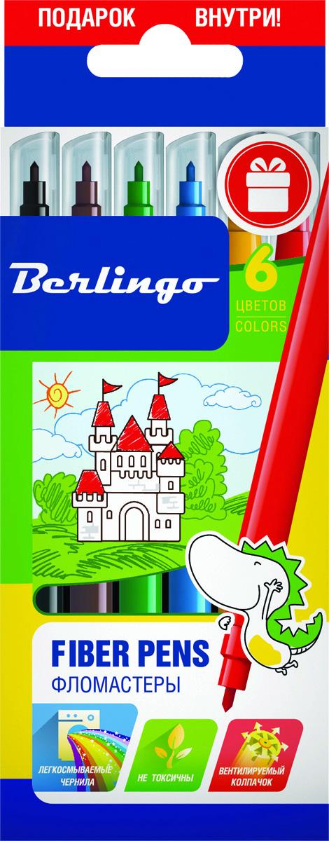 Berlingo Набор фломастеров Замки 6 цветовFS-36054Фломастеры Berlingo Замки имеют легкосмываемые чернила, вентилируемый колпачок, нетоксичны, корпус изготовлен из полипропилена. Упакованы в картонную лакированную коробку с петлей-европодвесом. Длина линии не менее 500 м.