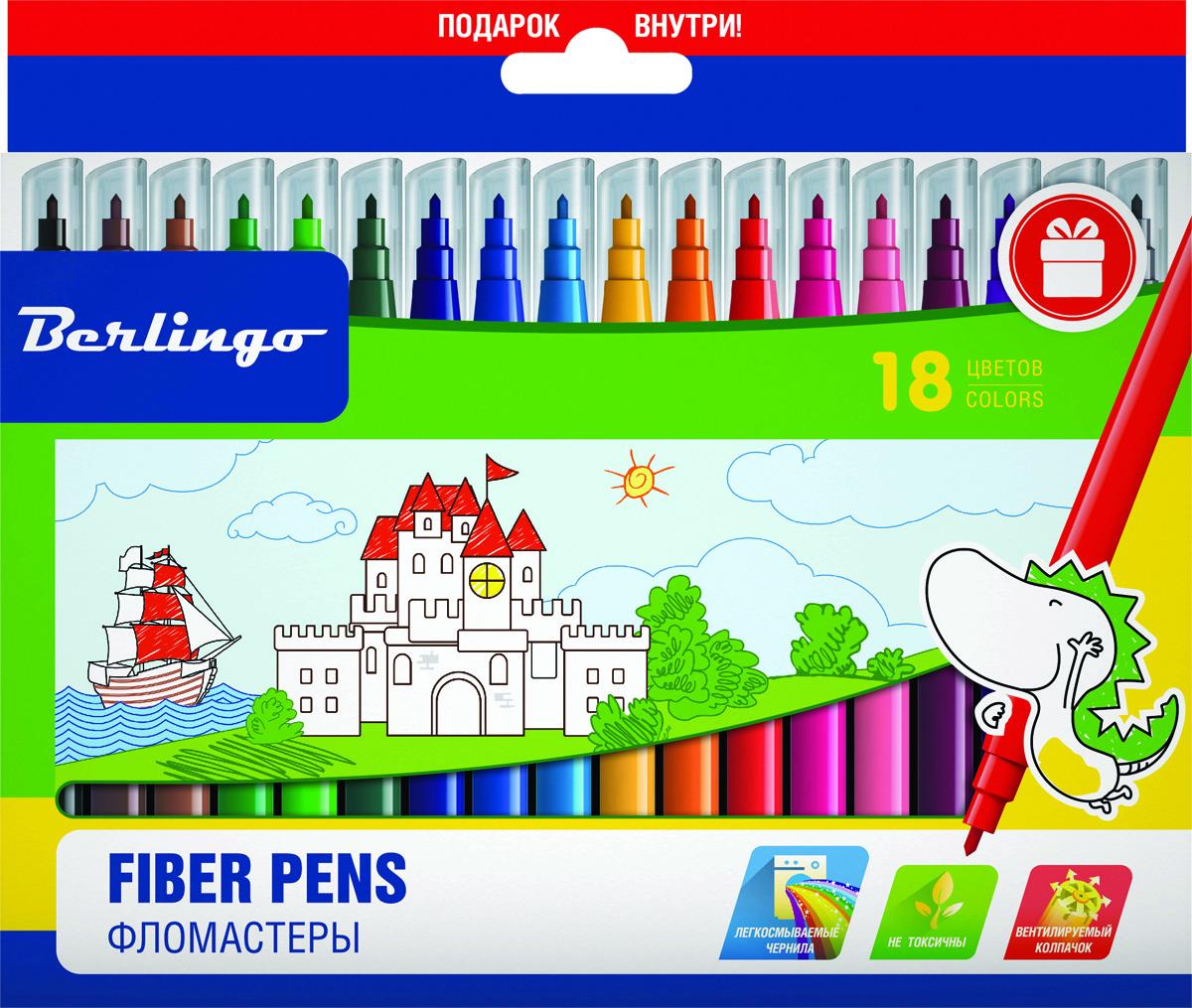 Berlingo Набор фломастеров Замки 18 цветовWP00218Фломастеры Berlingo Замки имеют легкосмываемые чернила, вентилируемый колпачок, нетоксичны, корпус изготовлен из полипропилена. Упакованы в картонную лакированную коробку с петлей-европодвесом. Длина линии не менее 500 м.