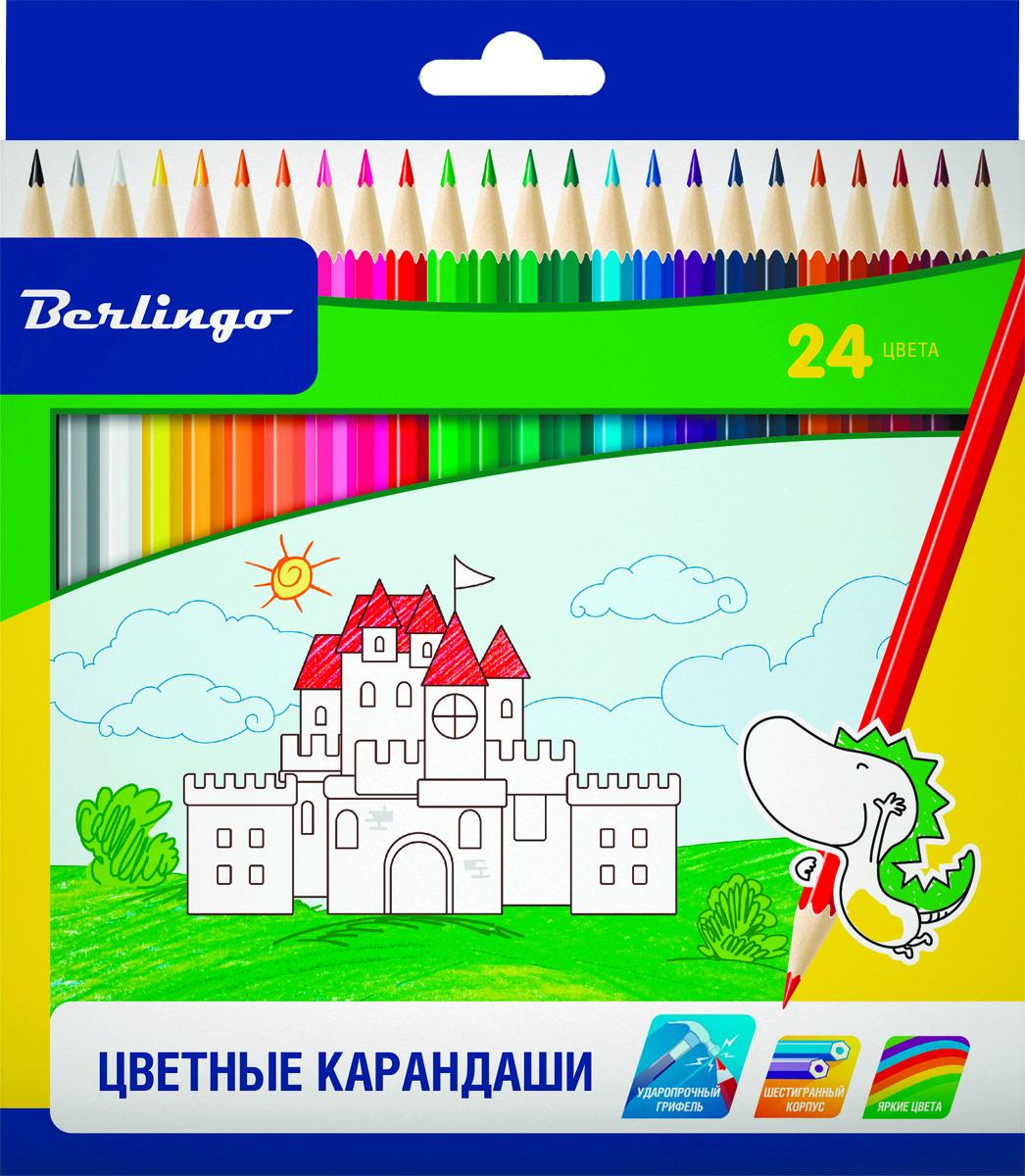 Berlingo Набор цветных карандашей Замки 24 цветаCP00124Набор цветных карандашей Berlingo Замки с заточенным грифелем. Карандаши имеют яркие насыщенные цвета. Штрихи мягко ложатся на бумагу. Карандаши легко затачиваются.