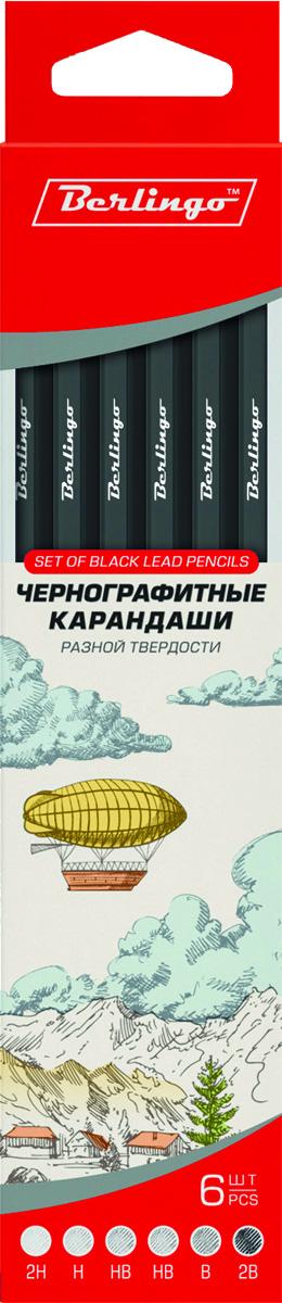 Berlingo Набор чернографитных карандашей 6 штBS01206Набор из 6 чернографитных карандашей из липы, с заточкой разной твердости. Подходит для черчения и рисования. Диаметр стержня 2мм, твердость 2H-2B, шестигранной формы, с логотипом на корпусе. Трехцветная окраска корпуса. Упаковка в картонную коробку с европодвесом