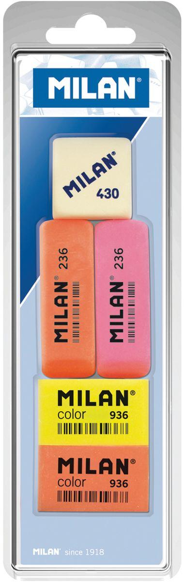 Milan Набор ластиков 236, Color 936 и 430 5шт611639Комплект синтетических ластиков Milan для работы с различными видами графитовых карандашей. Универсальные ластики 236 и 936 могут стирать цветные пигменты и чернила. Ластик 236 имеет скошенную форму с тонкими краями.