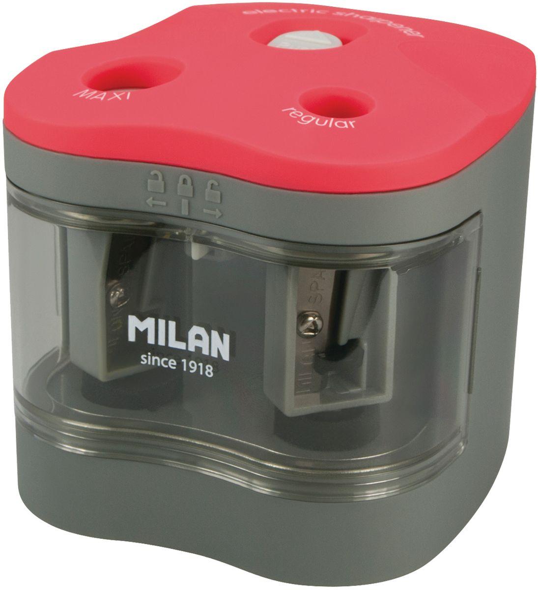 Milan Точилка электрическая Maxi Regular с контейнеромFS-36054Электрическая точилка Milan Maxi Regular с контейнером имеет острые, устойчивые к повреждению лезвия. Точилка идеально подходит для графитовых и цветных карандашей. Съемная передняя крышка для обеспечения утилизации стружки. В блистерной упаковке точилка и 4 батарейки 1,5V.