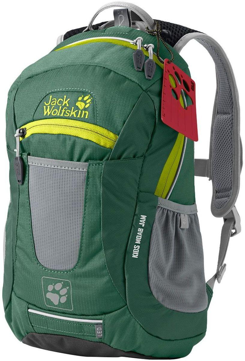 Рюкзак Jack Wolfskin Kids Moab Jam, цвет: зеленый. 2000851-4353BP-001 BKБольшой многоцелевой рюкзак Jack Wolfskin для детей от 6 лет выполнен из текстиля. Модель с тремя отделениями, спереди имеется карман на молнии, боковые стороны дополнены накладными карманами. Рюкзак оснащен регулируемыми по длине плечевыми лямками и петлей для подвешивания.