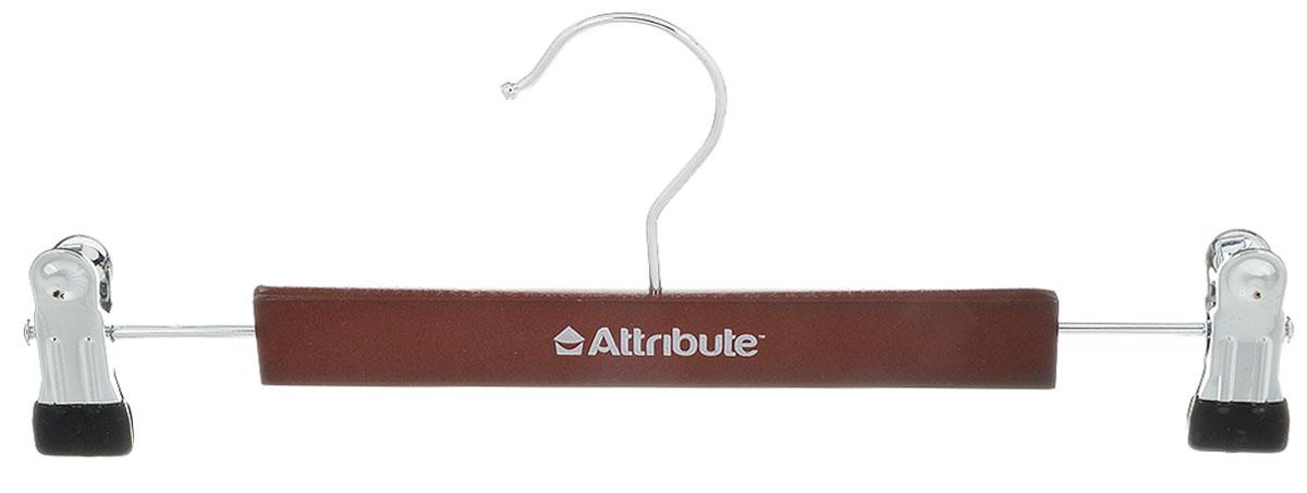 Вешалка для брюк Attribute Hanger Redwood, с клипсами, цвет: темно-коричневый, длина 30 смAHR261Вешалка Attribute Hanger Classic изготовлена из металла и дерева, снабжена клипсами для брюк. Клипсы имеют специальные накладки из ПВХ, чтобы не повредить ткань. Вешалка - это незаменимая вещь для того, чтобы ваша одежда всегда оставалась в хорошем состоянии. Длина вешалки: 30 см.