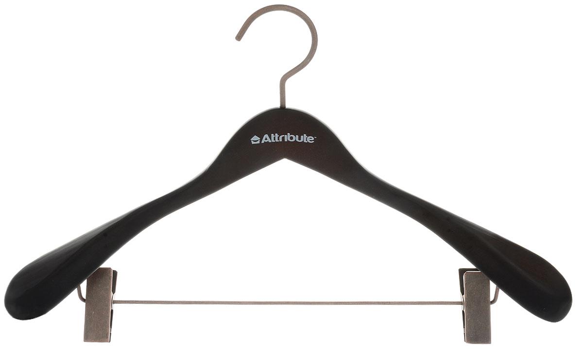 Вешалка для верхней одежды Attribute Hanger Prestige, с клипсами, цвет: коричнево-черный, длина 44 смAHD261Вешалка Attribute Hanger Prestige изготовлена из дерева и металла, снабжена клипсами. Клипсы имеют специальные пластиковые накладки, чтобы не повредить ткань. Вешалка - это незаменимый аксессуар для того, чтобы ваша одежда всегда оставалась в хорошем состоянии. Длина вешалки: 44 см.