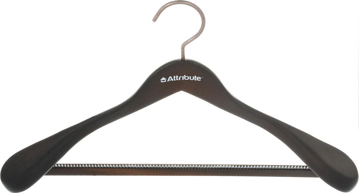 Вешалка для верхней одежды Attribute Hanger Prestige, цвет: коричнево-черный, длина 44 смAHD211Вешалка для верхней одежды Attribute Hanger Prestige выполнена из дерева и оснащена перекладиной с нескользящим ПВХ-покрытием. Вешалка - это незаменимая вещь для того, чтобы ваша одежда всегда оставалась в хорошем состоянии. Длина вешалки: 44 см.