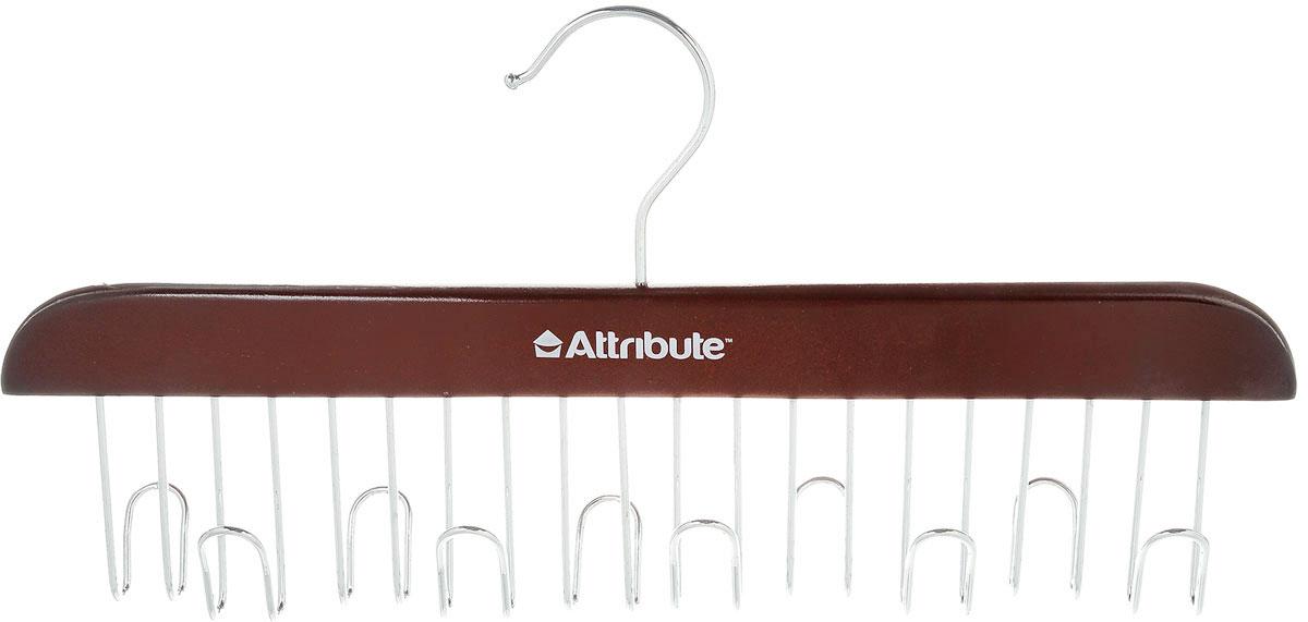 Вешалка для ремней Attribute Hanger, цвет: красное дерево, длина 32,5 смAHR861Вешалка для ремней Attribute Hanger выполнена из качественного металла и дерева. Оригинальная и удобная вешалка для ремней, также может использоваться для сумок и аксессуаров (платков, палантинов), она не займет много места и станет вашим незаменимым помощником. Длина вешалки: 32,5 см.