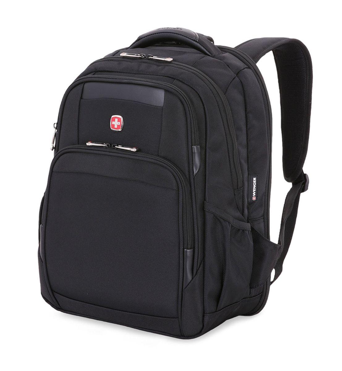 Рюкзак Wenger ScanSmart , цвет: черный. 6392202415BP-001 BKРюкзак Wenger выполнен из высококачественного плотного нейлона. На лицевой стороне расположено два небольших кармана на молниях для мелочей.Изделие имеет боковые карманы для бутылок. Рюкзак имеет боковые карманы для бутылок и рукав для крепления к чемодану. Рюкзак оснащен ручкой для подвешивания и удобными мягкими лямками, длину которых можно изменять с помощью пряжек. Рельефная спинка с системой циркуляции воздуха гарантирует поддержку спины, а встроенная петля обеспечивает удобное крепление рюкзака с другими сумками. Рюкзак имеет два вместительных отделений и застегивается с помощью молнии. Внутри расположено отделение для ноутбука с мягкими стенками,отделение для планшета иорганайзер для мелких предметов, который вмещает в себя ключницу и многочисленные кармашки для ручек, мобильного телефона, документов и карты памяти.