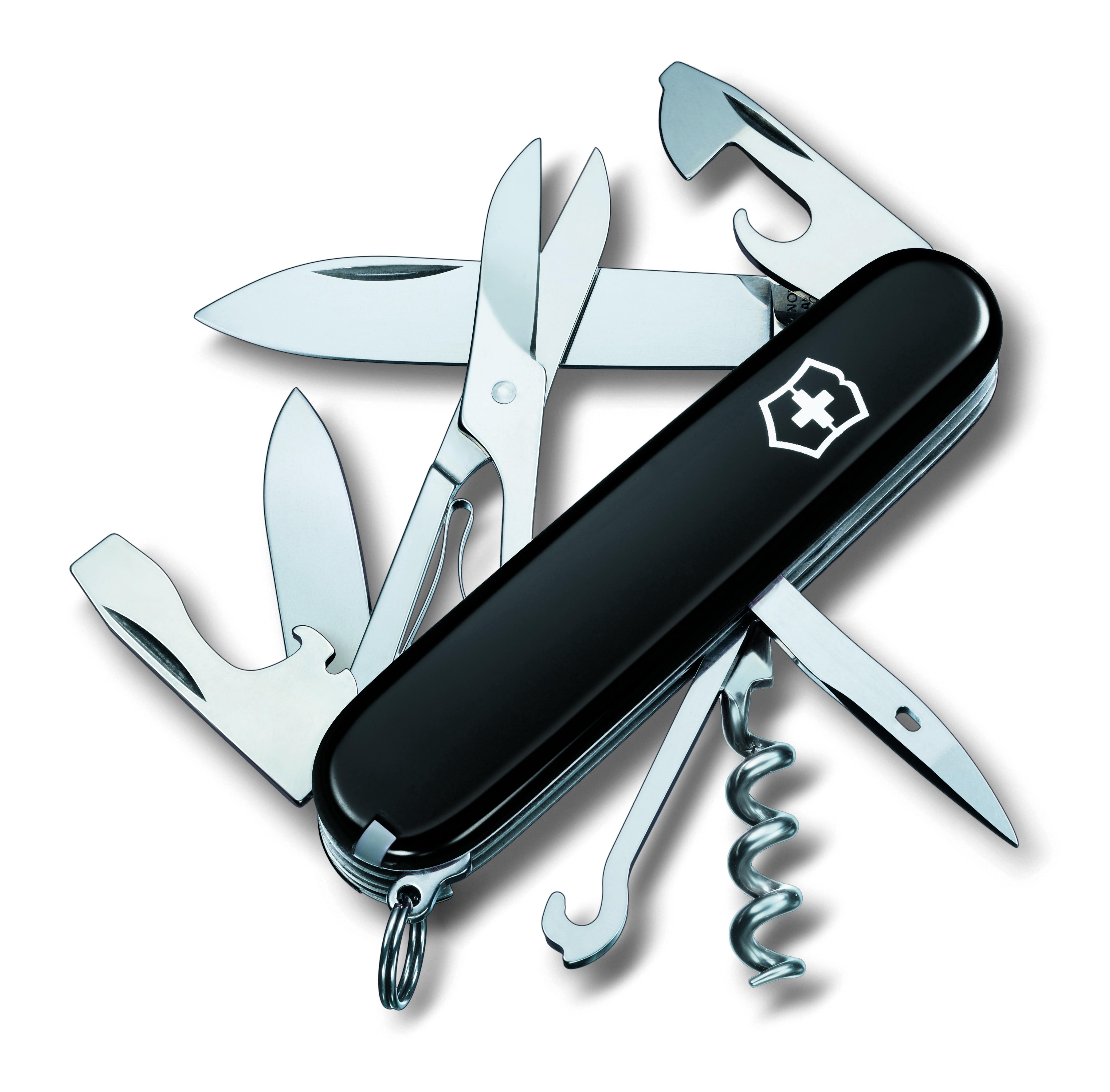 Нож перочинный Victorinox Climber, 14 функций, цвет: черный, длина клинка 68 ммa026124Маленький красный карманный нож с эмблемой креста на щите на рукояти — самый узнаваемый символ компании Victorinox.В 1897 году основатель компани Карл Эльзенер разработал первый «Швейцарский армейский нож».Более 130 лет компания Victorinox разрабатывает продукты,которые не просто уникальны по дизайну и качеству,но и способны стать верными спутниками по жизни как для великих,так и для небольших приключений. VICTORINOXАрт. 1.3703.3Швейцарский армейский нож CLIMBER имеет 14 функций:1. Большое лезвие2. Малое лезвие3. Штопор4. Консервный нож с:5. – Малой отвёрткой6. Открывалка для бутылок с:7. – Отвёрткой8. – Инструментом для снятия изоляции9. Шило, кернер10. Кольцо для ключей11. Пинцет12. Зубочистка13. Ножницы14. Многофункциональный крючокЦвет рукояти: чёрныйРекомендуемые чехлы: 4.0480.1, 4.0480.3, 4.0520.1, 4.0520.3, 4.0520.31, 4.0520.32, 4.0543.3, 4.0533Рекомендуемые аксессуары:Инструмент для заточки: 4.3311, 4.3323, 4.0567.32Держатели на ремень: 4.1853, 4.1858, 4.1859, 4.1860Цепочки длинные: 4.1813, 4.1814, 4.1815Цепочки короткие: 4.1820Комбинированные цепочки: 4.1854Шнурок с карабином: 4.1879Масло смазочное: 4.3301