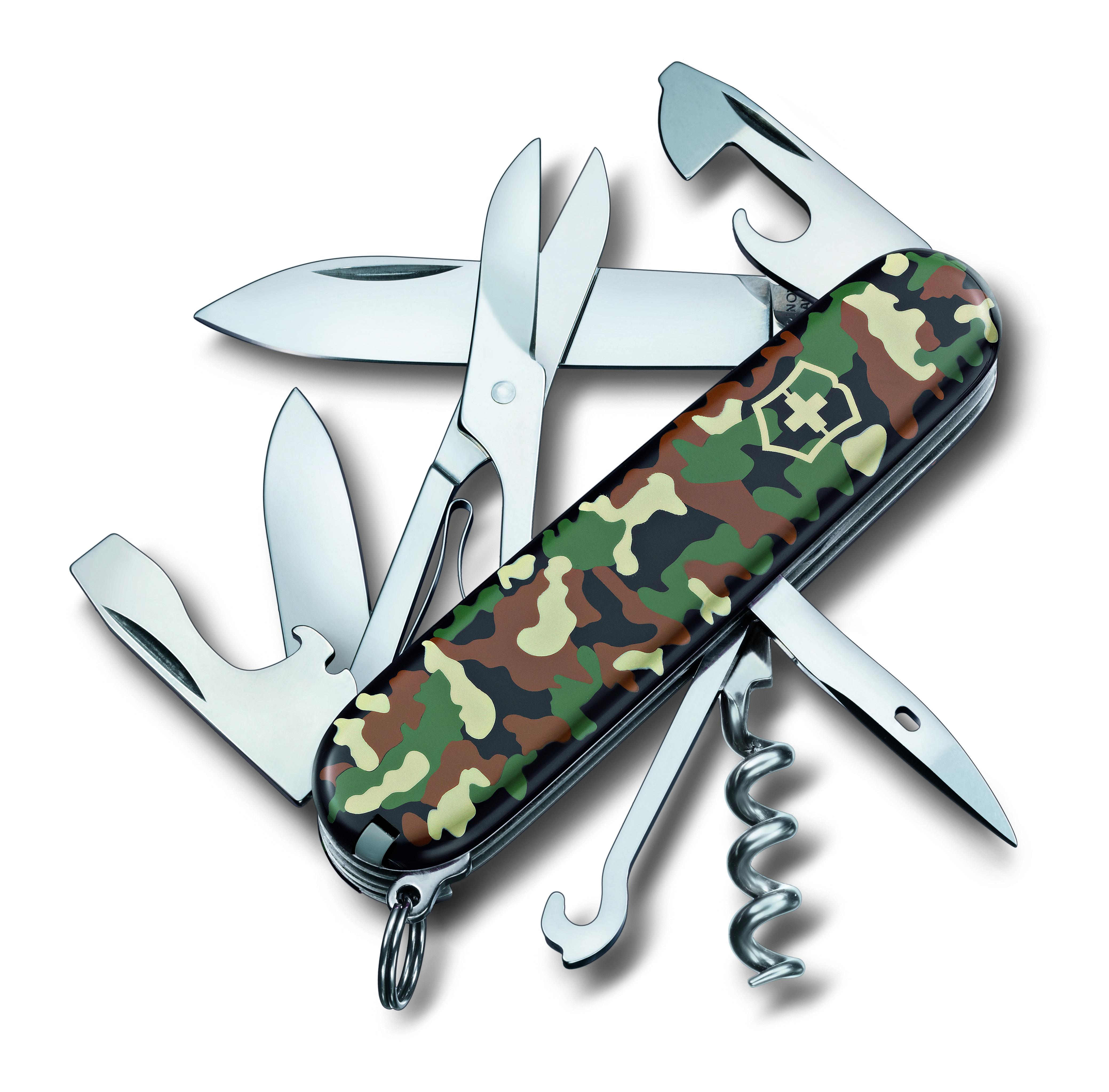 Нож перочинный Victorinox Climber, 14 функций, цвет: светло-зеленый, длина клинка 68 мм1.3703.94Маленький красный карманный нож с эмблемой креста на щите на рукояти — самый узнаваемый символ компании Victorinox.В 1897 году основатель компани Карл Эльзенер разработал первый «Швейцарский армейский нож».Более 130 лет компания Victorinox разрабатывает продукты,которые не просто уникальны по дизайну и качеству,но и способны стать верными спутниками по жизни как для великих,так и для небольших приключений. VICTORINOX арт. 1.3703.94 Швейцарский армейский нож CLIMBER имеет 14 функций: 1. Большое лезвие 2. Малое лезвие 3. Штопор 4. Консервный нож с: 5. – Малой отвёрткой 6. Открывалка для бутылок с: 7. – Отвёрткой 8. – Инструментом для снятия изоляции 9. Шило, кернер 10. Кольцо для ключей 11. Пинцет 12. Зубочистка 13. Ножницы 14. Многофункциональный крючок Цвет рукояти: зелёный камуфляж Рекомендуемые чехлы: 4.0480.1, 4.0480.3, 4.0520.1, 4.0520.3, 4.0520.31, 4.0520.32, 4.0543.3, 4.0533 Рекомендуемые аксессуары: Инструмент для заточки: 4.3311, 4.3323, 4.0567.32 Держатели на ремень: 4.1853,...