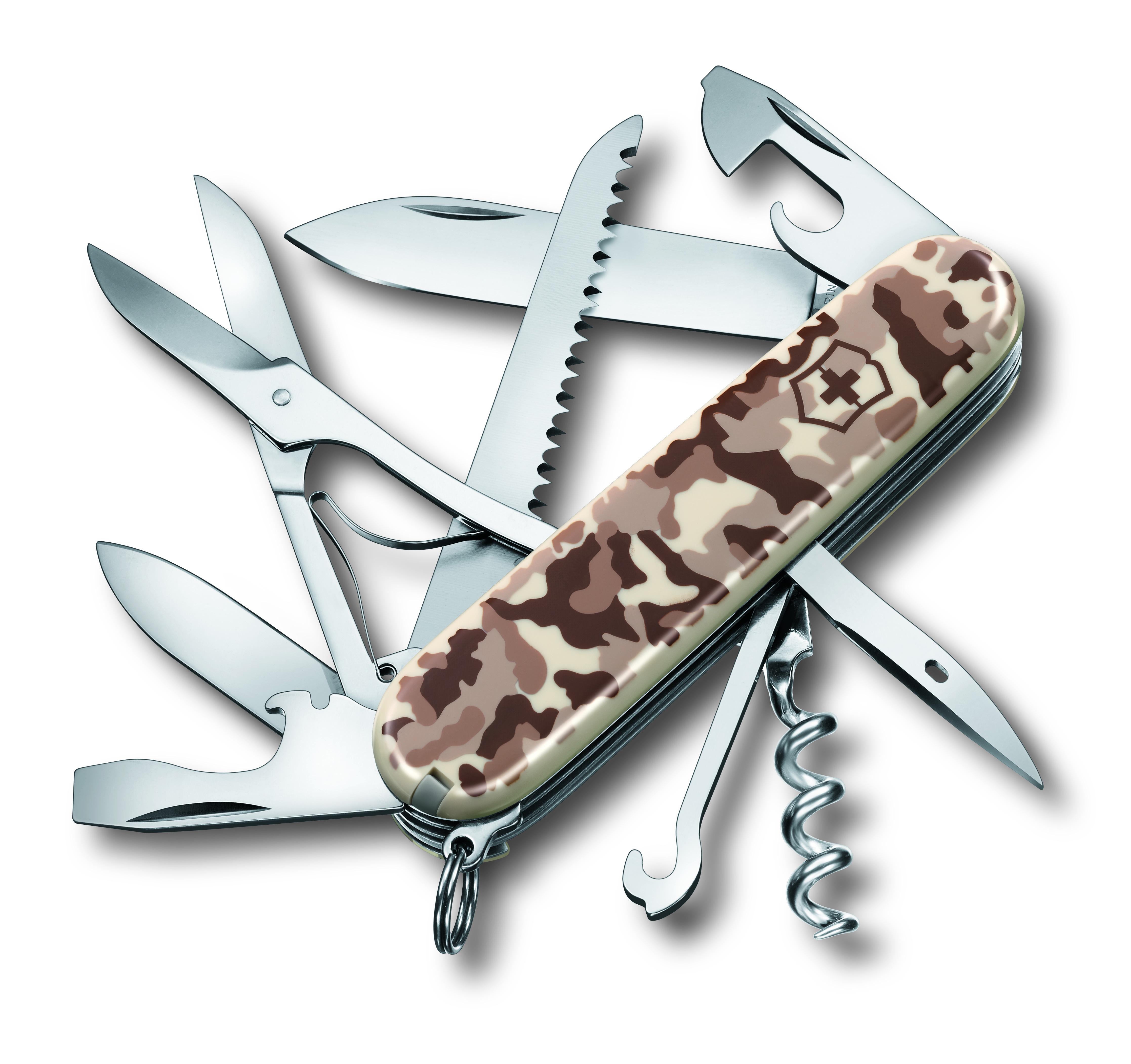 Нож перочинный Victorinox Huntsman Desert Camouflage, 15 функций, цвет: бежевый, длина клинка 68 мм1.3713.941Маленький красный карманный нож с эмблемой креста на щите на рукояти — самый узнаваемый символ компании Victorinox.В 1897 году основатель компани Карл Эльзенер разработал первый «Швейцарский армейский нож».Более 130 лет компания Victorinox разрабатывает продукты,которые не просто уникальны по дизайну и качеству,но и способны стать верными спутниками по жизни как для великих,так и для небольших приключений. VICTORINOX Арт. 1.3713.941 Швейцарский армейский нож HUNTSMAN имеет 15 функций: 1. Большое лезвие 2. Малое лезвие 3. Штопор 4. Консервный нож с: 5. – Малой отвёрткой 6. Открывалка для бутылок с: 7. – Отвёрткой 8. – Инструментом для снятия изоляции 9. Шило, кернер 10. Кольцо для ключей 11. Пинцет 12. Зубочистка 13. Ножницы 14. Многофункциональный крючок 15. Пила по дереву Цвет рукояти: бежевый камуфляж Рекомендуемые чехлы: 4.0480.1, 4.0480.3, 4.0520.1, 4.0520.3, 4.0520.31, 4.0520.32, 4.0543.3, 4.0533, 4.0738 Рекомендуемые аксессуары: Инструмент для заточки: 4.3311, 4.3323, 4.0567.32...