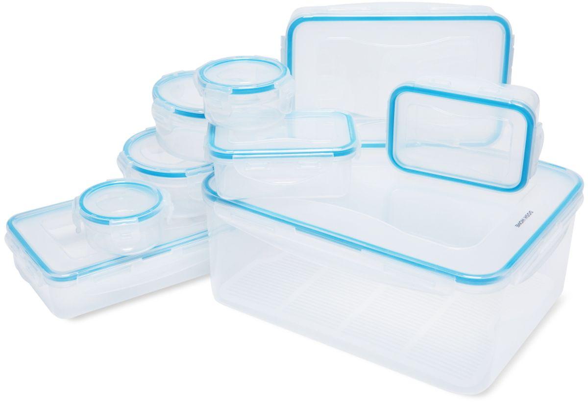 Набор контейнеров Dosh l Home SAGITTA, 18 штVT-1520(SR)Набор контейнеров Dosh l Home SAGITTA отлично подходит для хранения и переноса продуктов питания. С герметичной и водонепроницаемой крышкой - пища дольше остается свежей, сохраняет аромат и не вытекает при переносе. Контейнеры изготовлены из прочного пластика, с высококачественным силиконовым уплотнением. Устойчивость от до -18 +110 ° C, подходит для холодильника, морозильника и микроволновой печи, можно мыть в посудомоечной машине.