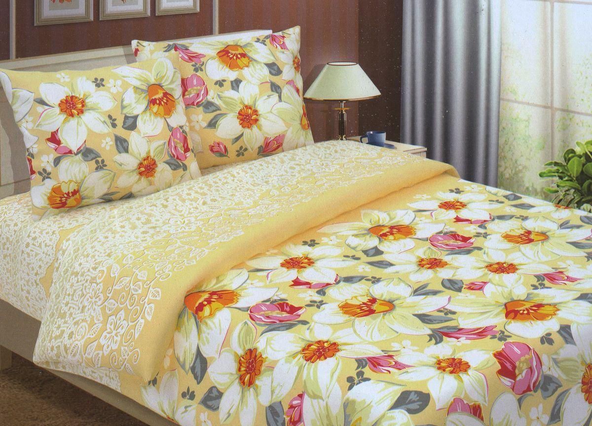 Комплект белья Primavera Нарциссы, семейный, наволочки 70x70, 50x70, цвет: зеленый89276