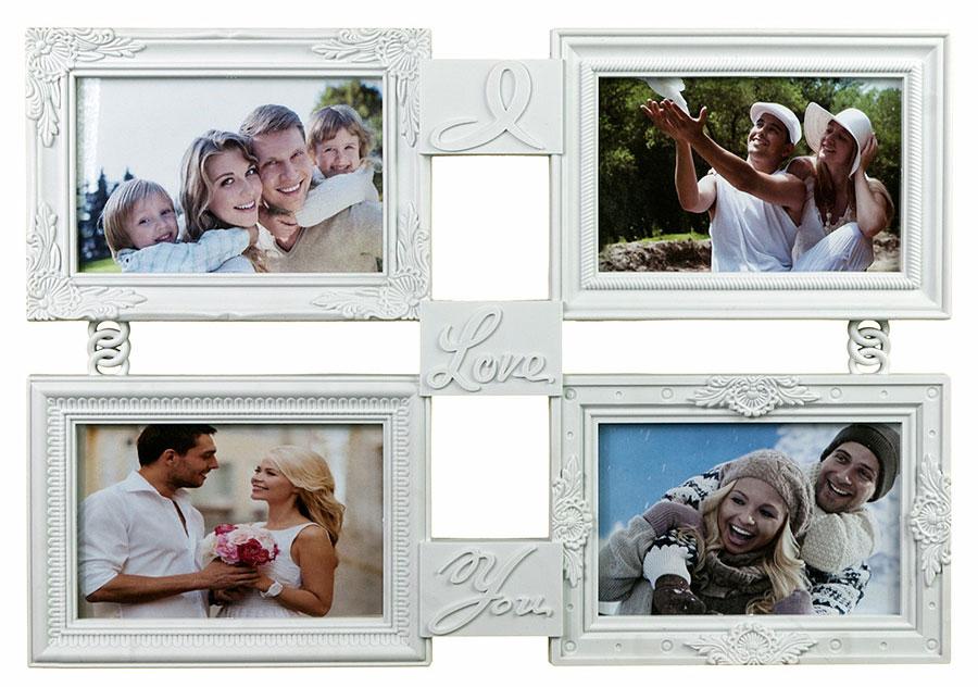 Фоторамка Platinum I Love You, цвет: белый, на 4 фотоBIN-1123982-White-БелыйФоторамка Platinum I Love You - прекрасный способ красиво оформить ваши фотографии. Фоторамка выполнена из пластика и защищена стеклом. Фоторамка-коллаж представляет собой четыре фоторамки для фото разного размера оригинально соединенных между собой. Такая фоторамка поможет сохранить в памяти самые яркие моменты вашей жизни, а стильный дизайн сделает ее прекрасным дополнением интерьера комнаты. Фоторамка подходит для 4 фото 10 х 15 см и 2 фото 10 х 10 см. Общий размер фоторамки: 42 х 29 см.