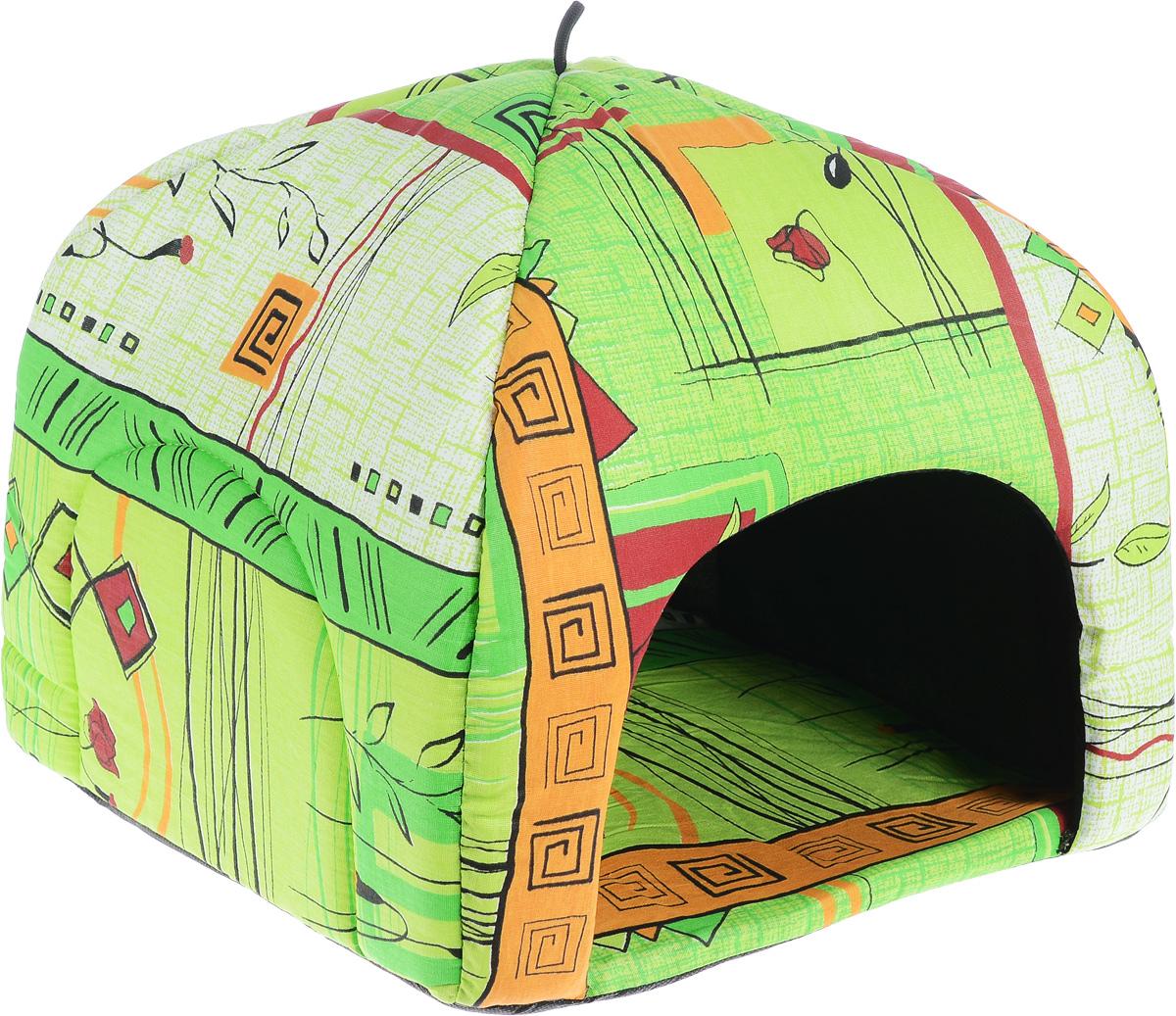 Домик для животных Elite Valley Юрта, цвет: светло-зеленый, оранжевый, бордовый, 38 х 38 х 34 смЛ3/3 Лежак открытый _ стамбул зеленый материал бязь, поролонДомик для животных Elite Valley Юрта непременно станет любимым местом отдыха вашего домашнего животного. Домик напоминает по форме юрту. Изделие выполнено из бязи, нетканого материала с наполнителем из поролона повышенной жесткости. Такой материал не теряет своей формы долгое время. В таком ярком и стильном домике вашему любимцу будет мягко и тепло. Он даст вашему питомцу ощущение уюта и уединенности, а также возможность подремать, отдохнуть и просто спрятаться.