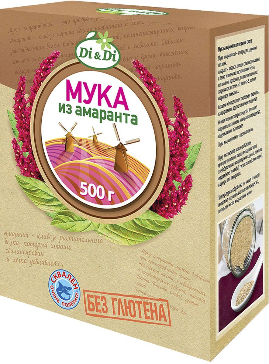 Di&Di Мука амарантовая первого сорта, 500 г4650061330224Амарантовая мука обладает высокой пищевой ценностью и уникальным биохимическим составом (в частности, по содержанию незаменимых аминокислот, мощных антиоксидантов и минеральных веществ мука, полученная из зерен амаранта, во много раз превосходит большинство традиционно выращиваемых в России злаковых культур - пшеницу, рис, сою, кукурузу и др.). В зернах амаранта содержится до 16% белка (состоящего более чем на 30% из незаменимых аминокислот), до 15% жиров (50% из которых приходится на долю полиненасыщенной жирной кислоты Омега-6), и около 9-11% пищевых волокон (клетчатки). В составе амарантовых семян также весьма высоко содержание витаминов (Е , А, B1, B2, B4 (холин), С, D), весьма важных для организма человека макро- и микроэлементов (железо, калий, кальций, фосфор, магний, медь и др.), а также других биологически активных веществ, определяющих разнообразные лечебно-профилактические свойства амарантовой муки (сквален, фитостеролы, фосфолипиды и др.).