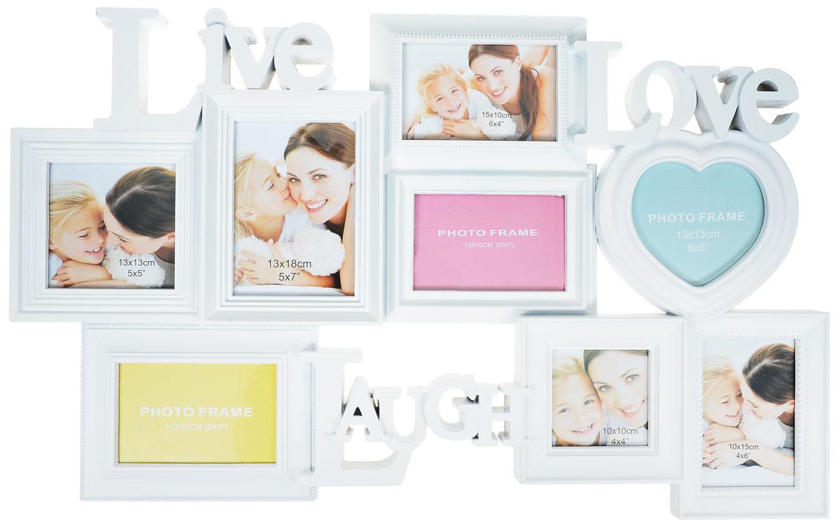 Мультирамка Image Art, на 8 фотографий. PL18-12UP210DFМультирамка для фотографий Image Art выполнена из прочного пластика. Рамка состоит из 12 горизонтальных и вертикальных рамок, которые соединены между собой и каждая из которых защищена стеклом. Рамку можно повесит на стену. Такая рамка не только позволит сохранить на память изображения дорогих вам людей и интересных событий вашей жизни, но и стильно украсит интерьер помещения. Общий размер рамки: 75 х 44 х 4 см.Размер фотографий: 15 х 10 см х 3 (4 шт.), 10 х 10 см (1 шт.), 13 х 13 см (1 шт.), 13 х 13 см (в форме сердца, 1 шт.), 13 х 18 см (1 шт.).