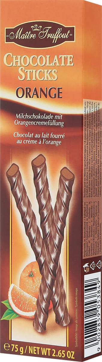 Maitre Truffout Палочки из молочного шоколада с апельсиновой начинкой, 75 г0120710Лакомство можно предложить к чашечке чая, кофе или капучино. Оно станет хорошим дополнением к стакану теплого молока. Палочки можно использовать в качестве украшения десертов или мороженого. Сладкий вкус молочного шоколада гармонично сочетается с выразительными оттенками спелого апельсина.Уважаемые клиенты! Обращаем ваше внимание, что полный перечень состава продукта представлен на дополнительном изображении.
