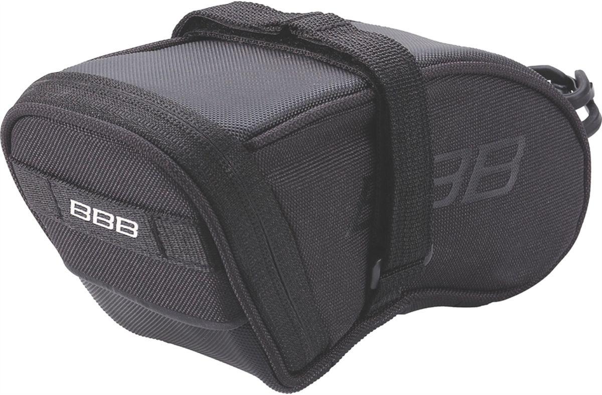 Велосумка под седло BBB SpeedPack, цвет: черный. Размер LBSB-33LВысокотехнологичная подседельная сумка особой формы для оптимального и наиболее естественного расположения под седлом. Синяя подкладка для лучшей видимости содержимого. Молния с фиксатором для дополнительной безопасности и абсолютно бесшумная при езде. Крепление для заднего габарита-LED фонарика. Черная светоотражающая полоска для лучшей видимости. Двойная застежка на липучке для простой и быстрой установки/снятия. Резиновый ремешок крепления к подседельному штырю для надёжной фиксации сумочки и во избежание повреждений лайкровых шорт и подседельного штыря. Размеры: L (690см3))