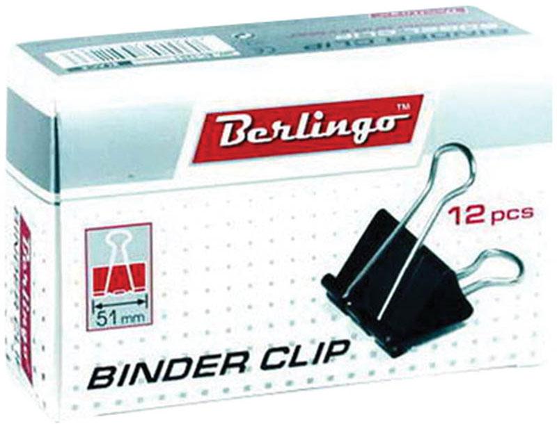 Berlingo Зажим для бумаг ширина 51 мм 12 шт1765085Зажим для бумагBerlingo предназначен для скрепления бумажных носителей.Зажим выполнен из стали. В упаковке 12 зажимов черного цвета. Они надежно и легко скрепляют, не деформируют бумагу, не оставляют на ней следов.