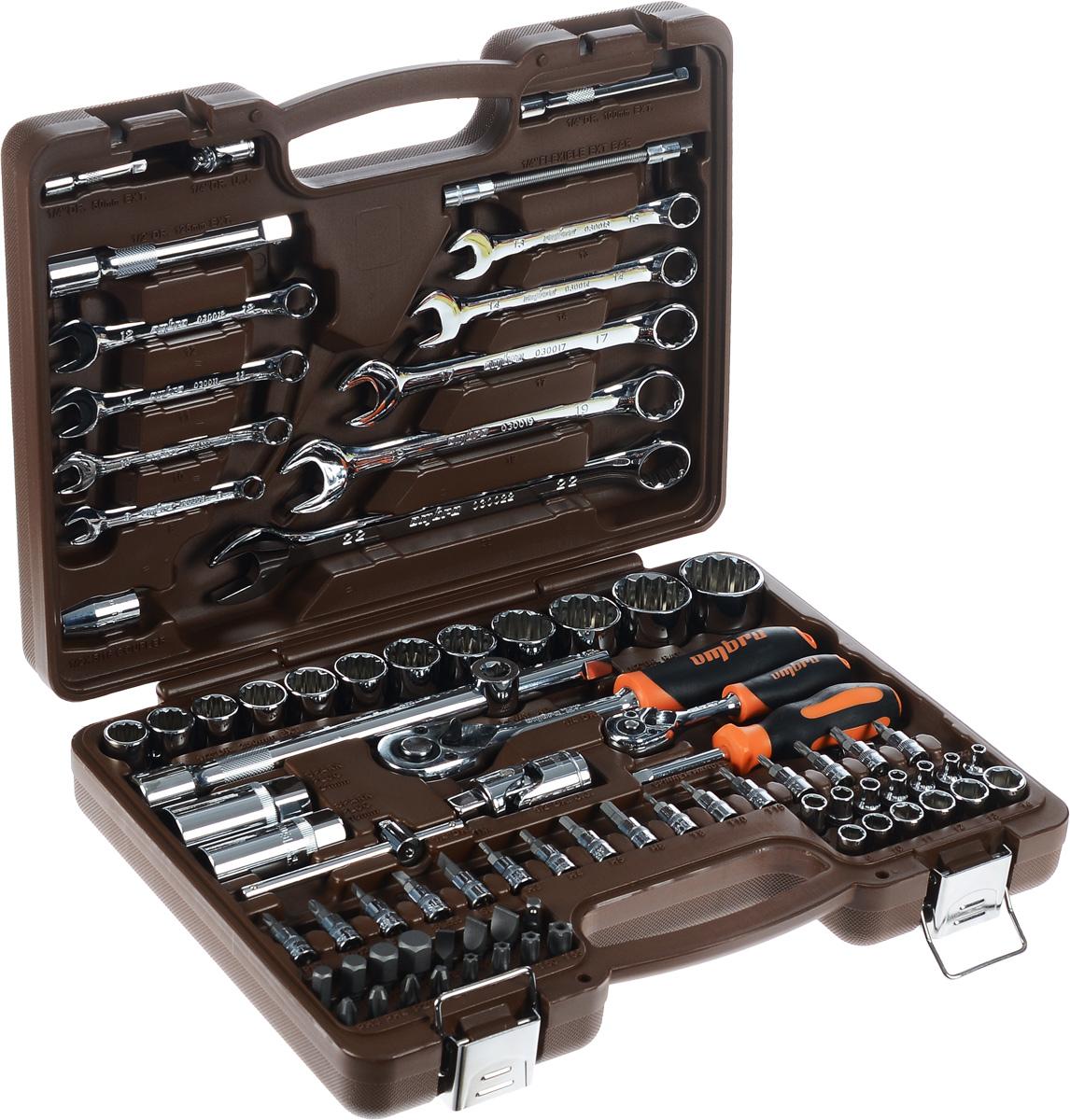 Набор инструментов Ombra, 82 предмета. OMT82SOMT82SНабор инструментов Ombra состоит из 82 предметов и предназначен для монтажа/демонтажа резьбовых соединений. Предметы набора выполнены из высококачественной стали. Инструменты соответствуют высоким стандартам качества, поэтому подойдут как для использования на бытовом уровне, так и для применения в профессиональной сфере. Состав набора: 1/4: Головки шестигранные: 4 мм, 4,5 мм, 5 мм, 5,5 мм, 6 мм, 7 мм, 8 мм, 9 мм, 10 мм, 11 мм, 12 мм, 13 мм, 14 мм. Головки со вставками: H3, H4, H5, H6, T8, T10, T15, T20, T25, T30, SL4, SL5,5, SL7, PH1, PH2, PZ1, PZ2. Трещотка с быстрым сбросом. Т-образный вороток. Удлинители: 50 мм, 100 мм. Карданный шарнир. Гибкий удлинитель. Отверточная рукоятка. Адаптер для бит. 1/2: Шестигранные головки: 14 мм, 15 мм, 16 мм, 17 мм, 18 мм, 19 мм, 21 мм, 22 мм, 24 мм, 27 мм, 30 мм, 32 мм. Биты 5/16, 30 мм: H8, H10, H12, H14, T40, T45, T50, T55, SL8, SL10, SL12, PH3, PH4, PZ3, PZ4. ...