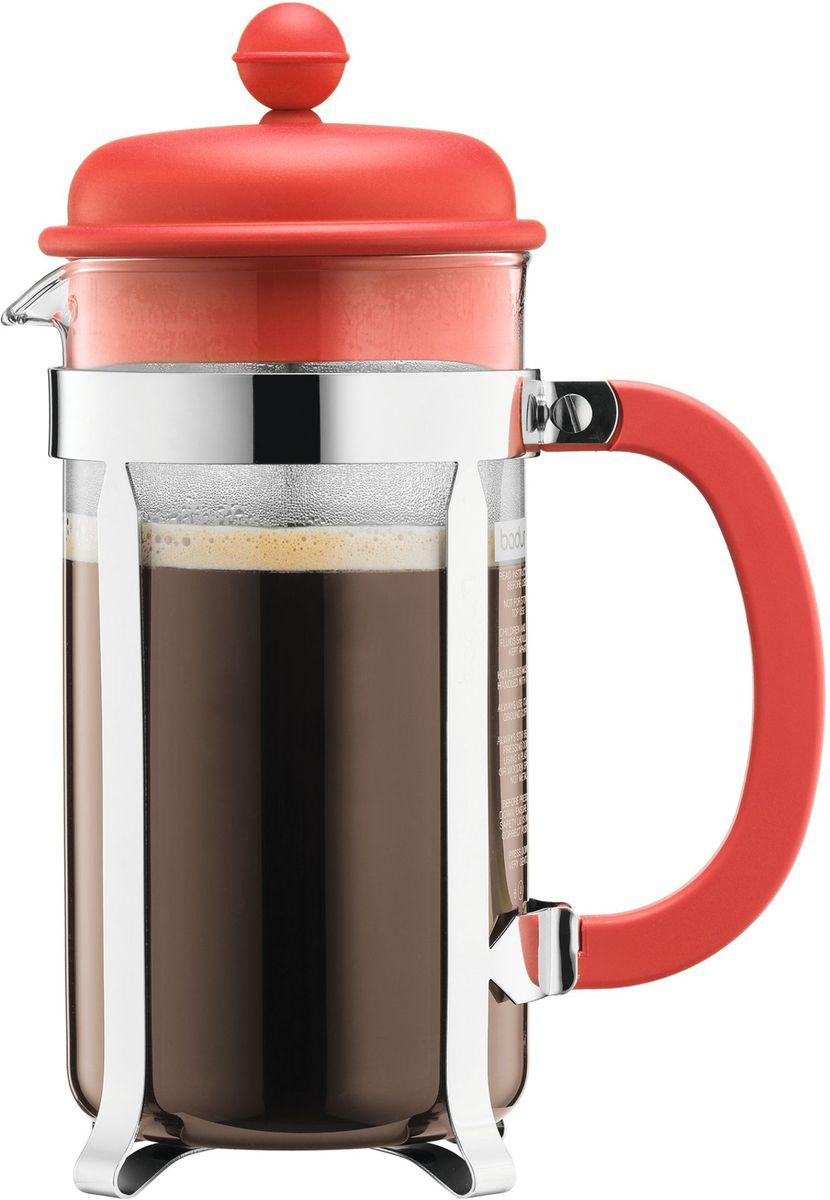 Кофейник с прессом Bodum Caffettiera, цвет: красный, 1 л. A1918-137-Y16A1918-137-Y16