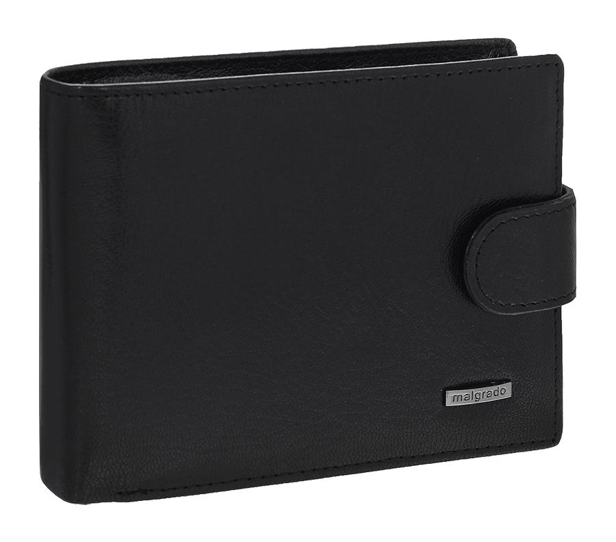 Портмоне мужское Malgrado, цвет: черный. 35027-5401DINT-06501Универсальное портмоне Malgrado изготовлено из натуральной кожи. Внутри содержит три отделения для купюр, одно из которых на молнии, два потайных кармашка, отсек для мелочи на кнопке, прозрачный кармашек для пропуска или фотографии, отделение для визиток или кредитных карт на шесть карточек, прорезной кармашек и два кармана из прозрачного пластика. Также предусмотрено потайное отделение на застежке-молнии. Закрывается портмоне хлястиком на кнопку.Благодаря насыщенному цвету и лаконичному дизайну, такое портмоне подойдет любителям классических аксессуаров.
