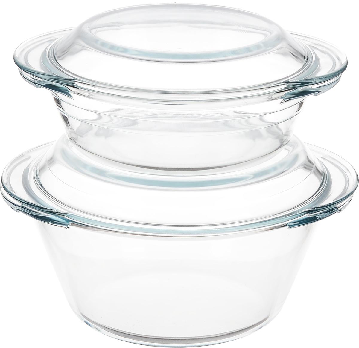 Набор кастрюль Helper Gurman, с крышками, 4 предмета. 454794672Набор Helper Gurman состоит из двух кастрюль с крышками. Кастрюли изготовлены из жаропрочного стекла. Стеклянная огнеупорная посуда идеальна для приготовления блюд в духовке, микроволновой печи, а также для хранения продуктов в холодильнике и морозильной камере. Безопасна с точки зрения экологии. Не вступает в реакции с готовящейся пищей, не боится кислот и солей. Не ржавеет, в ней не появляется накипь. Не впитывает запахи и жир. Благодаря прозрачности стекла, за едой можно наблюдать при ее готовке. Изделия оснащены небольшими ручками.Можно мыть в посудомоечной машине.Объем кастрюль: 1 л, 2 л.Диаметр кастрюль: 17 см, 19,5 см.Высота стенки кастрюль: 5,5 см, 9 см.